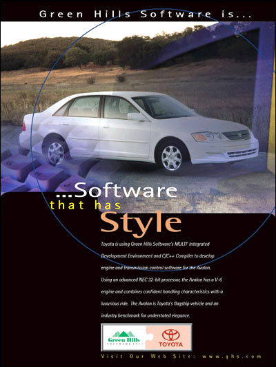 Toyota Avalon, is using MULTI IDE analysis tools & debugger and C/C++ optimizing embedded compilers