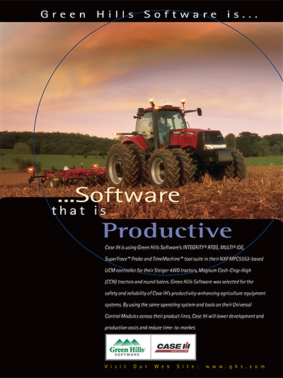 Case IH is using Green Hills Software�s INTEGRITY RTOS, MULTI IDE, SuperTrace Probe and TimeMachine tool suite